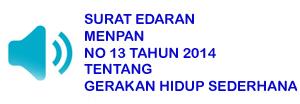SURAT EDARAN MENPAN  NO 13 TAHUN 2014 TENTANG GERAKAN HIDUP SEDERHANA