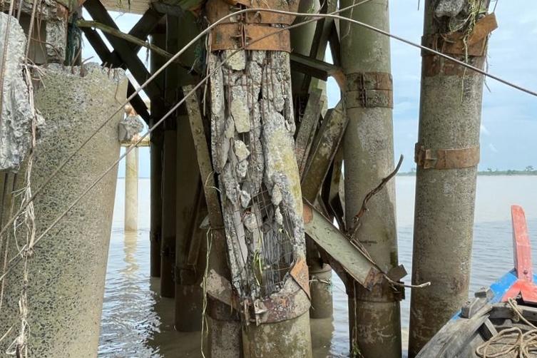 Biaya Ditanggung Kontraktor Ponton, Jembatan Pedamaran II Rohil Segera Diperbaiki