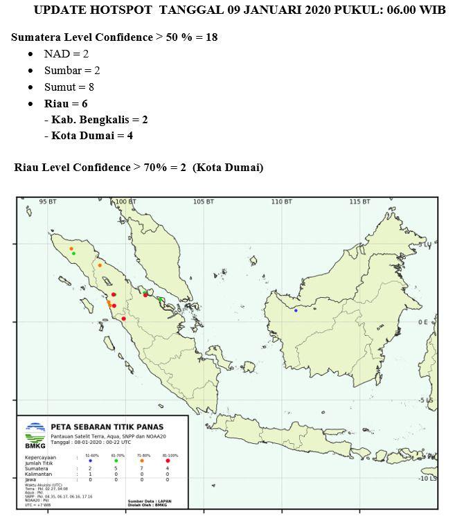 Enam Titik Panas Terdeteksi di Kecamatan Dumai Barat dan Bengkalis