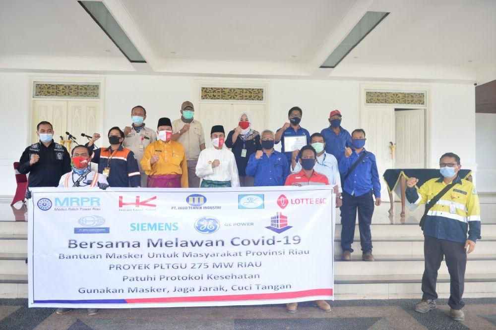 Gubri Terima Bantuan 50.000 Masker Dari Gabungan Beberapa Perusahaan Di Riau