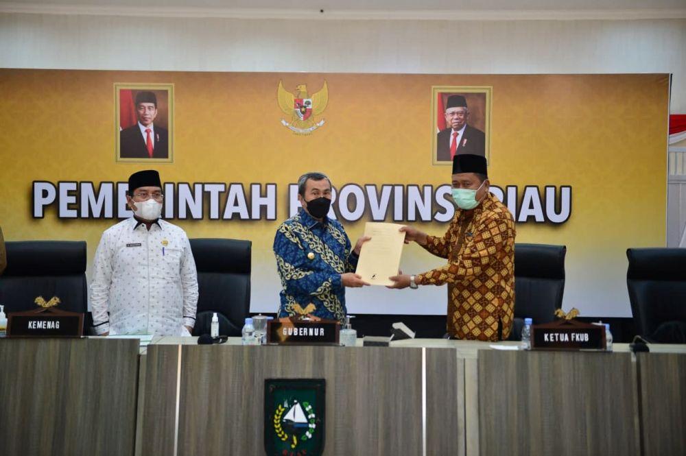 Gubri Terima Silahturahmi Pengurus dan Anggota FKUB Riau Periode 2021-2024