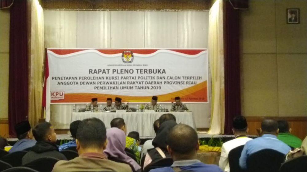 KPU Tetap 65 Anggota DPRD Riau Terpilih Periode 2019-2024