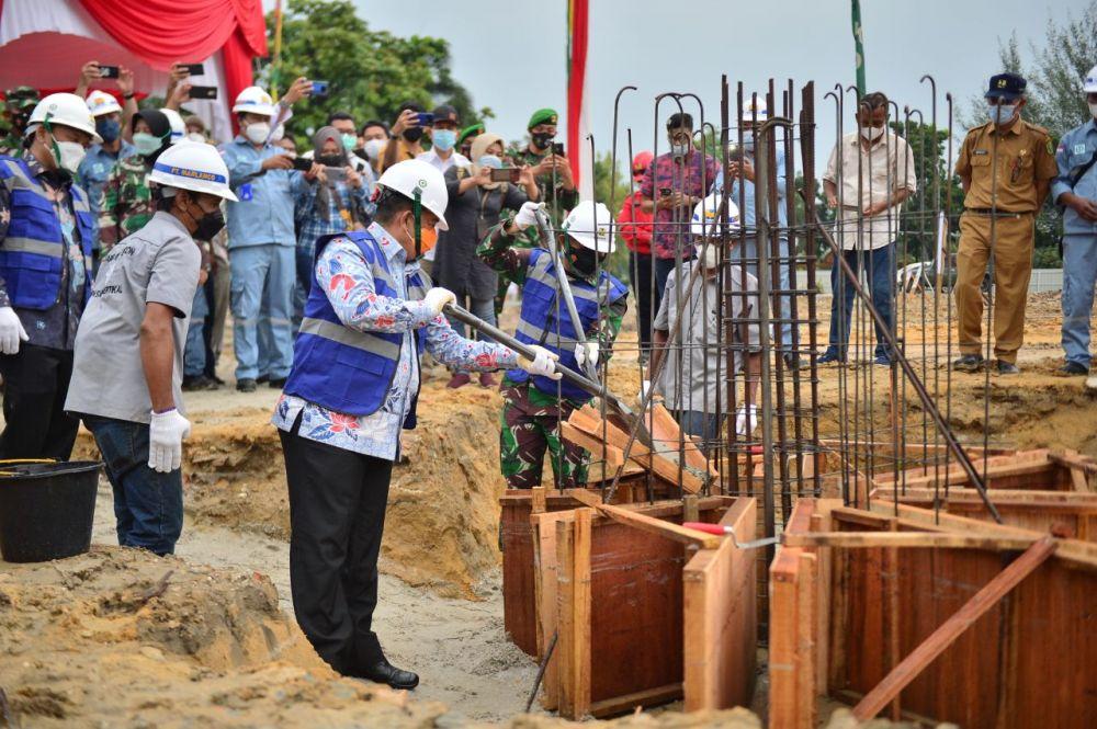 Pandam I BB bersama Wagubri Hadiri Peletakan Batu Pertama Pembangunan Makorem 031/WB