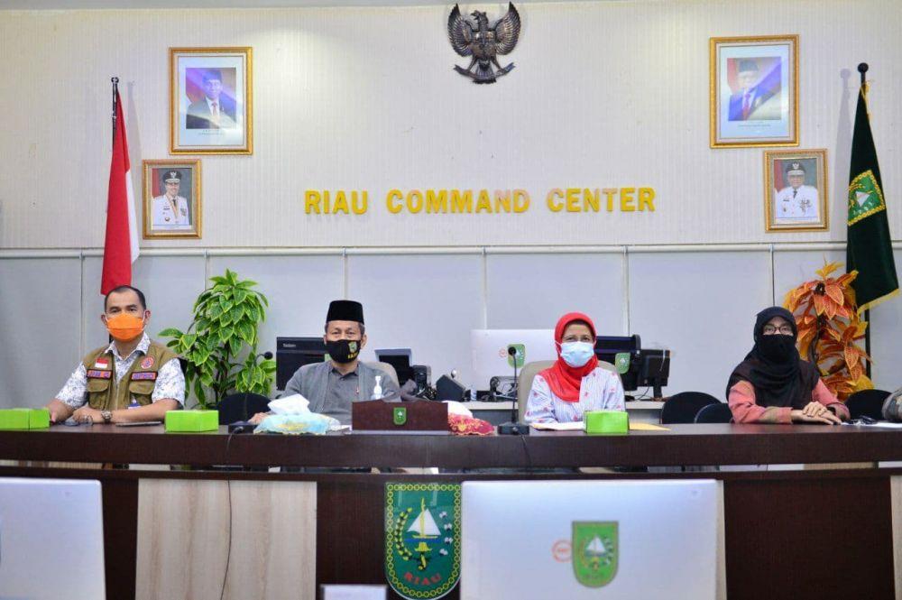 Plh Sekdaprov Riau Ikuti Rakor PPKM Mikro dan Posko Covid-19 Tingkat Desa/Kelurahan Secara Virtual