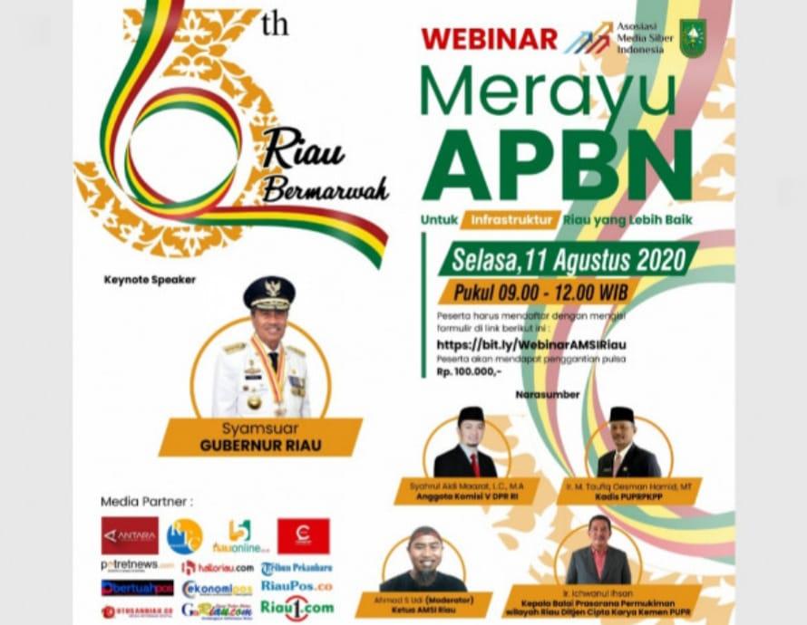 Sempena HUT Ke-63 Riau, Gubri akan Jadi Pembicara Seminar Virtual Bersama AMSI