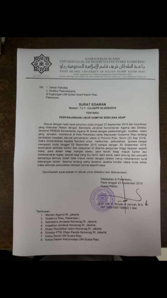 Mediacenterriaugoid Uin Suska Riau Kembali Liburkan