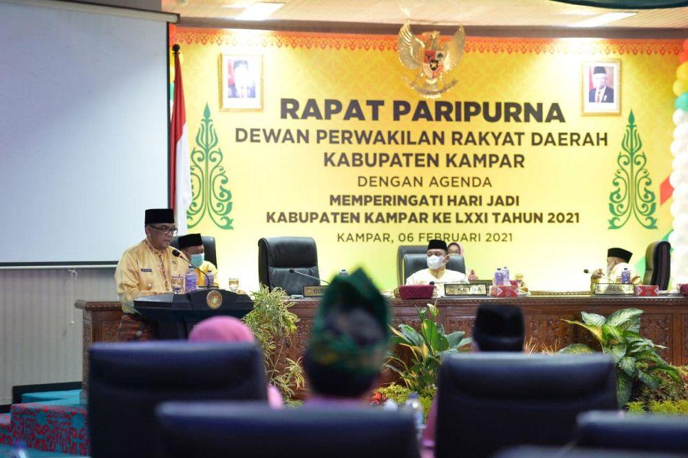 Wagubri Hadiri Sidang Paripurna Istimewa DPRD Kampar Peringati HUT Kampar ke-71