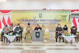 Rakor Forkopimda Riau terkait Vaksin Covid-19 Secara Virtual